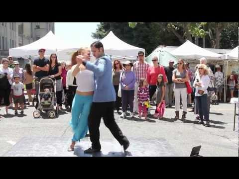 Argentine Tango Street Dancing in Berkeley - Nicholas Tapia and Mirabai Deranja
