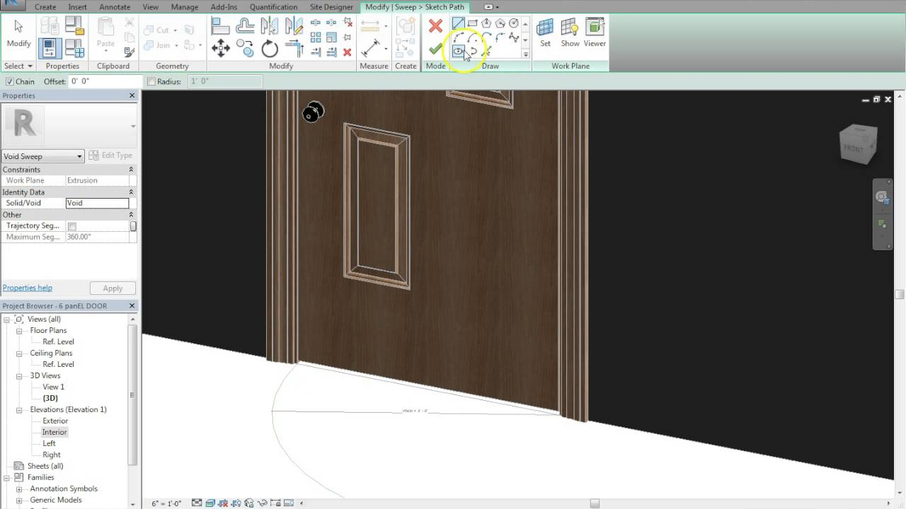 revit family creation 6 panel wood door with frame - Door With Frame
