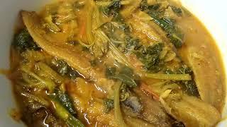 Bottle Gourd Leaves and Shing fish recipe Bangladesh curry   লাউ শাঁক ও শিং মাছের তরকারি last part