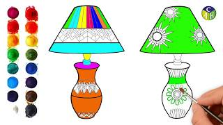 How to draw TABLE LAMP easy steps for kids | draw a table lamp | color art