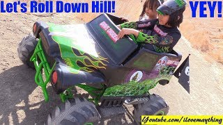 Monster Jam Truck Grave Digger is Going Downhill! Monster Jam Truck Ride-On Power Wheels!