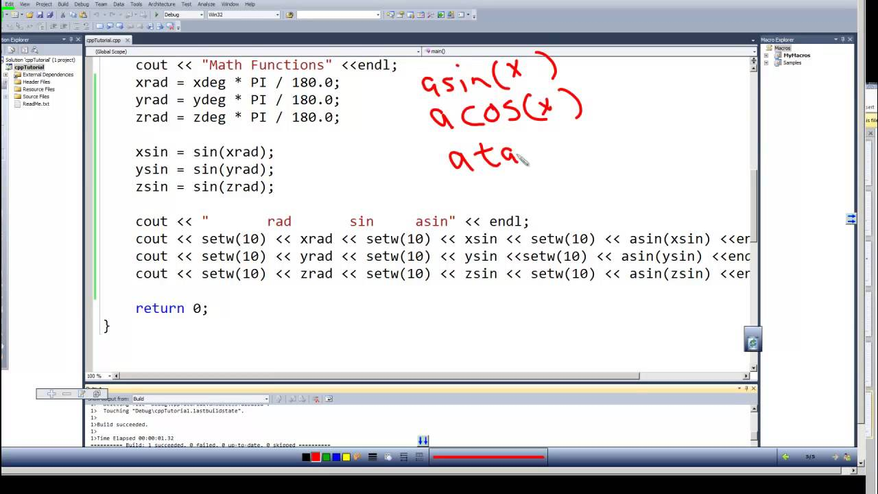 Programming In C C Episode 0040 Math Functions Arc