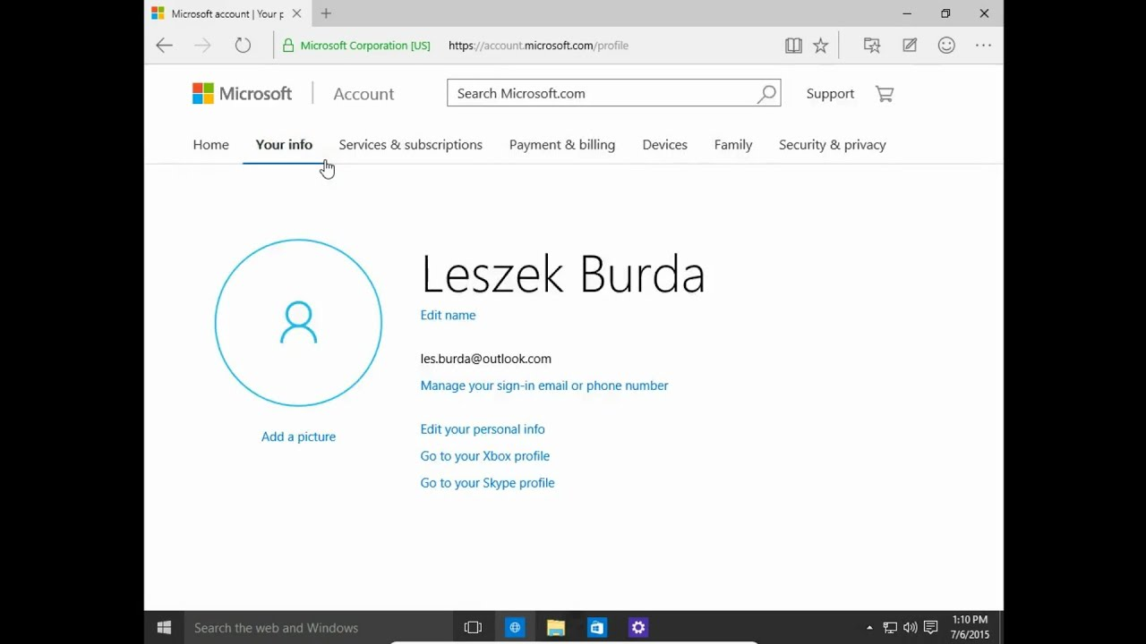 How to change user name in Microsoft account