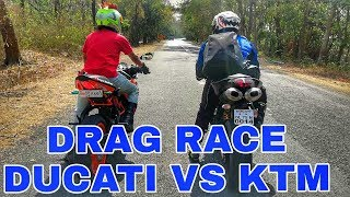 DRAG RACE | DUCATI 848 EVO VS KTM RC390 2017 | Dragstar MotoVlogs |