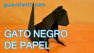 Gato negro. Origami para Halloween
