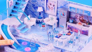 DIY Miniature Frozen Disney Dollhouse Bathroom, Bedroom Elsa Anna Part 1