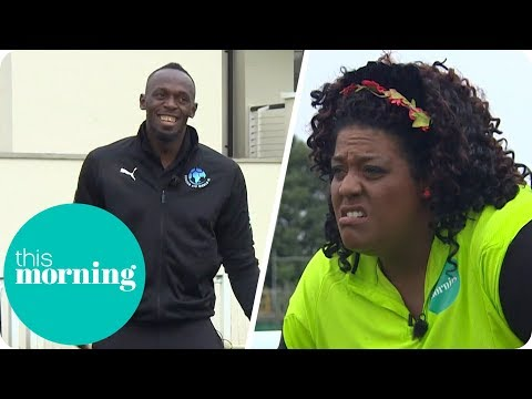 Usain Bolt Practices His Penalty Shootout Skills Against Alison Hammond | This Morning