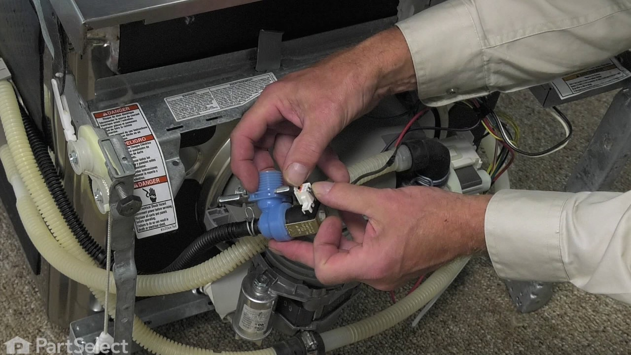 dishwasher repair replacing the inlet water vale whirlpool part w10844024  [ 1280 x 720 Pixel ]