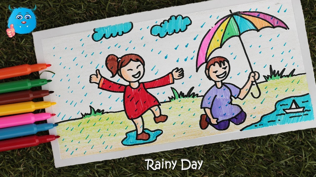 How to draw scenery of rainy season easy drawing for kids with pencil color