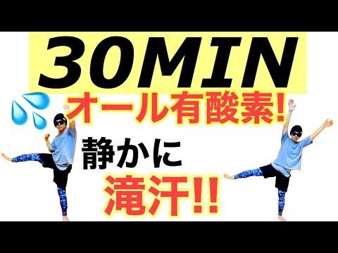 【30分間 滝汗】オール有酸素運動!静かに体脂肪をMAX燃やす!食べ過ぎた時の運動★burning fat for 30MIN at home !