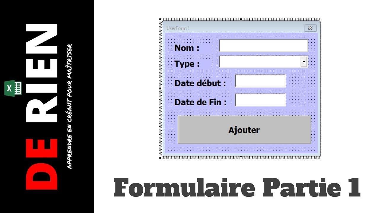 Cree Un Formulaire Excel Pour Remplir Un Tableau 1 3 Tutoriel