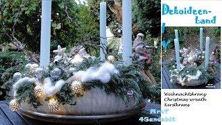 DIY Adventskranz selber machen I Wolle, Zapfen, Zweigen, Glaskugeln I Advent wreath DekoideenLand