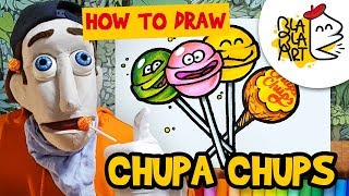 HOW TO DRAW A CHUPA CHUPS LOLLIPOP | Yummy Candy Coloring for Kids | Blabla Art