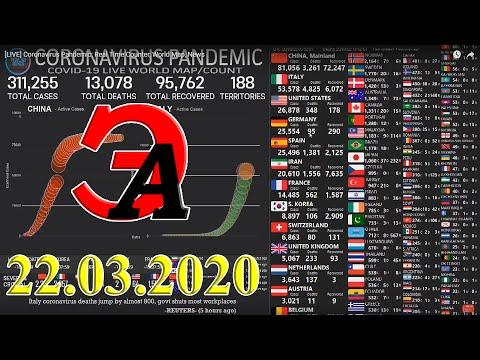 Коронавирус в цифрах на 22-е марта 2020 года. США вышла на третье мест по количеству инфицированных