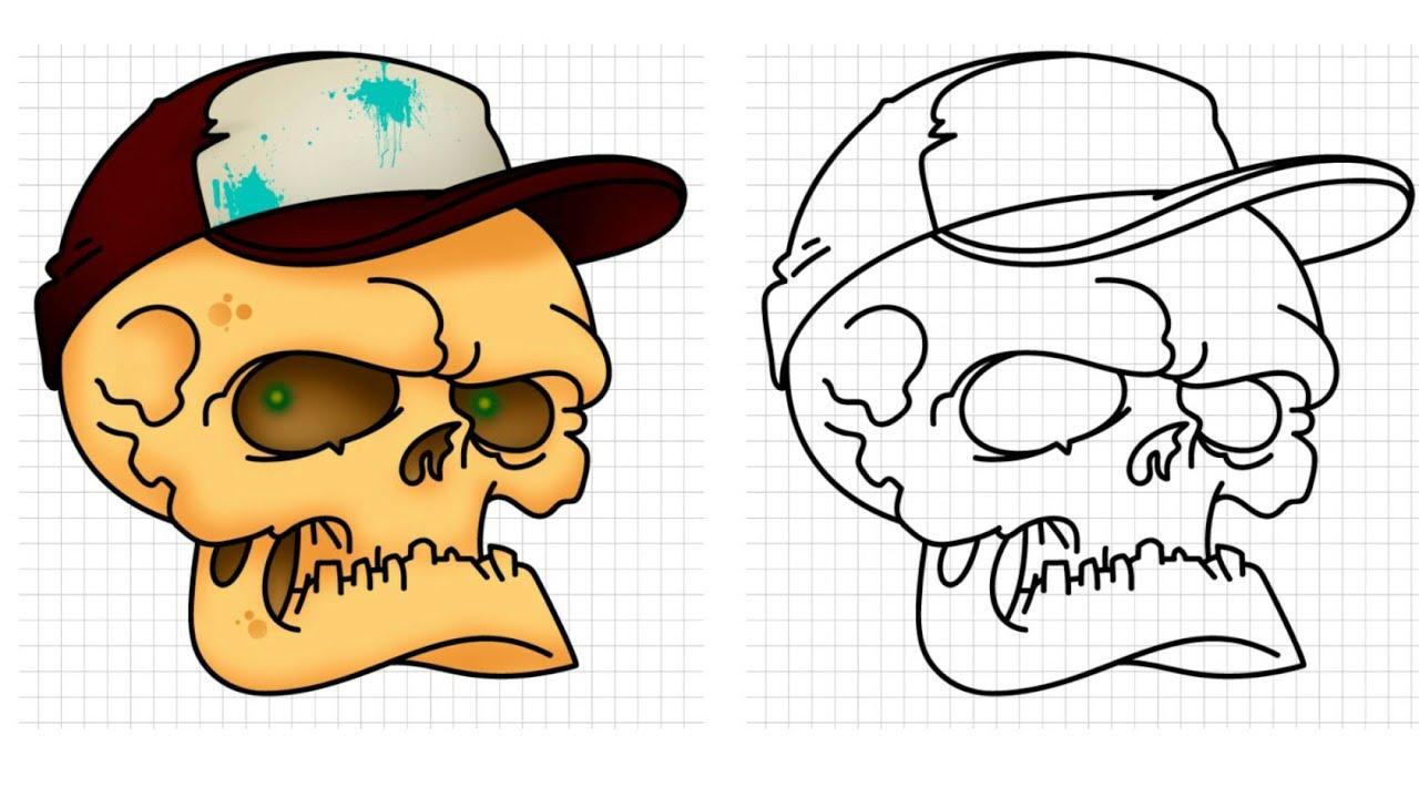 تعليم الرسم تعلم كيفية رسم الجمجمة بطريقة سهله ورائعة خطوة