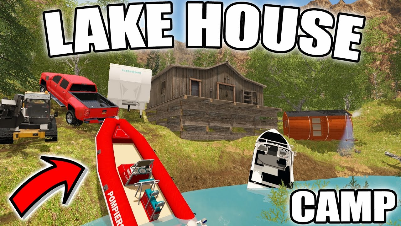 Farming simulator 2017 camping boating lake house for Lake house construction