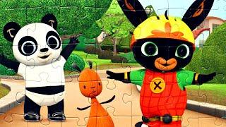 Бинг и Пандо - собираем пазлы для малышей с героями мультика Бинг Bing | Danik and Lesha