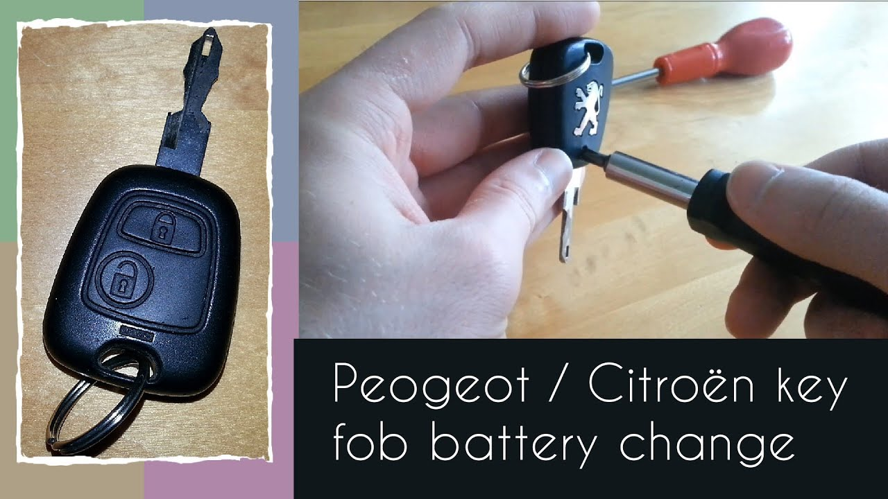how to change the battery in a peugeot citro n key fob 2 button youtube. Black Bedroom Furniture Sets. Home Design Ideas