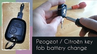 How to change the battery in a Peugeot/Citroën key fob (2-button)