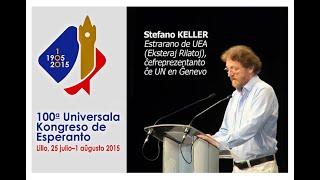 100a UK, Lillo, Francio, 2015: Stefano Keller, UEA-Estrarano legas mesaĝojn de gravuloj