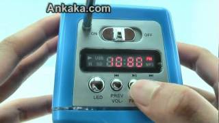 How to Use LED-backlight Portable MP3/MP4 Music Speaker (FM Radio + SD card Slot + USB rechargeable)