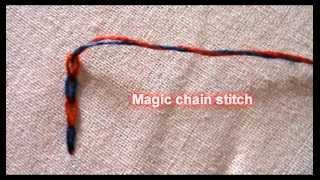 Magic chain stitch :Hand embroidery stitch Thumbnail