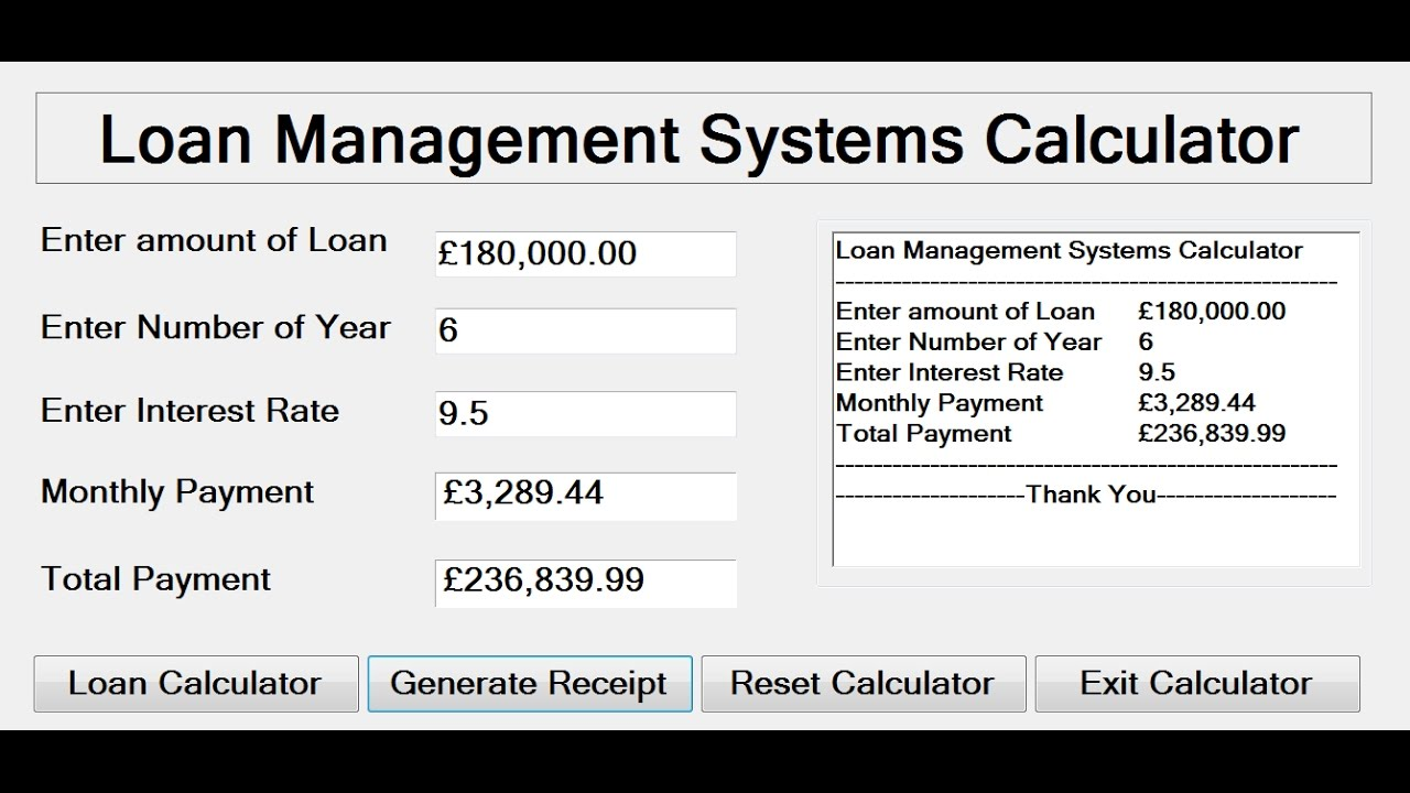 how to create loan management system calculator in c youtube