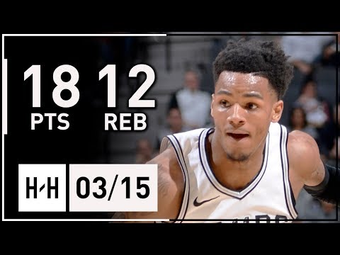 Dejounte Murray Full Highlights Spurs vs Pelicans (2018.03.15) - 18 Points, 12 Reb