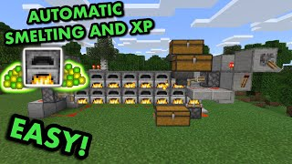 SIMPLE 1.17 AUTOMATIC SUṖER SMELTER TUTORIAL in Minecraft Bedrock (MCPE/Xbox/PS4/Nintendo Switch/PC)