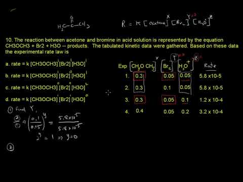 ACS Exam General Chemistry Dynamics #10  The reaction between acetone and  bromine in acid solution