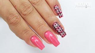 3D Pink Sweater nails tutorial /My love hybrydowe