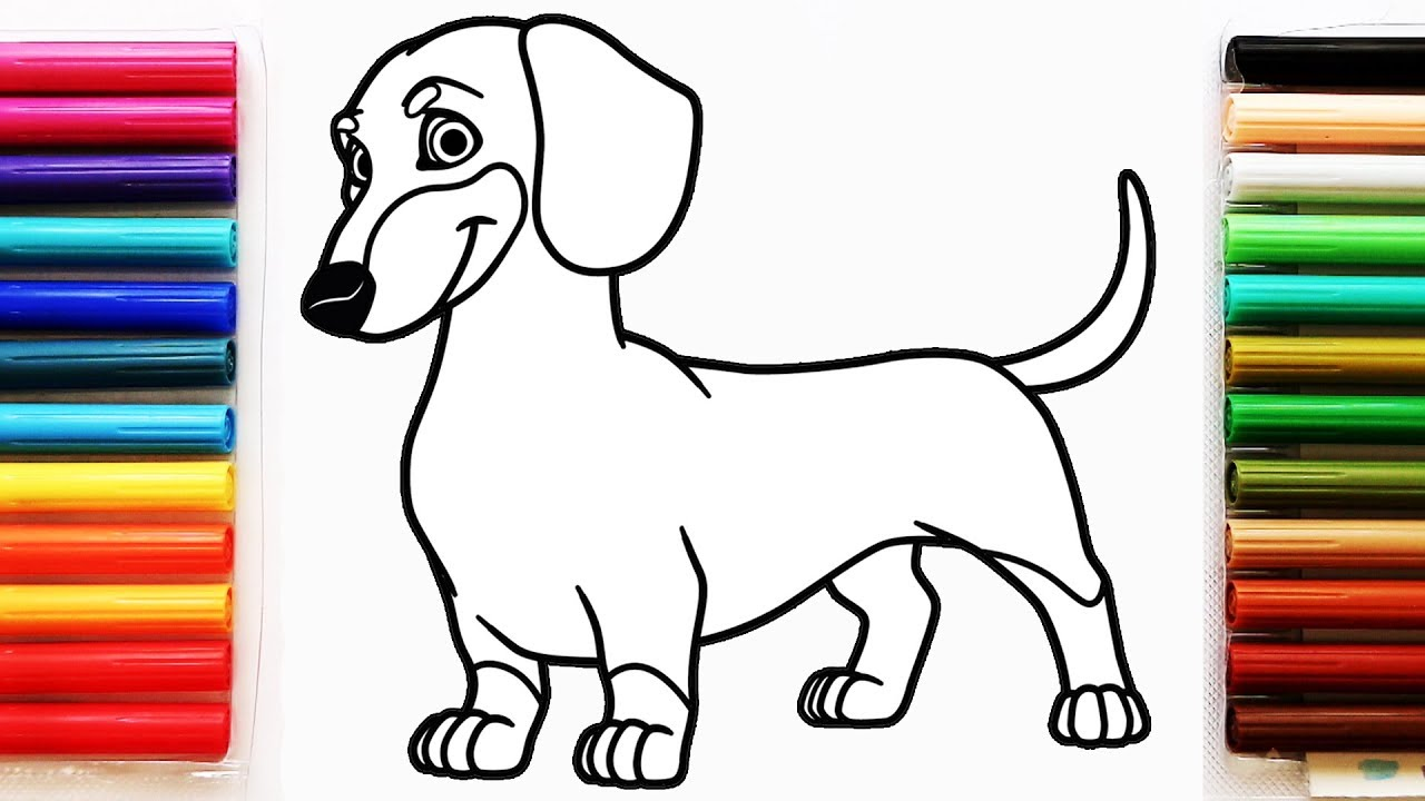 Coloring Page With Dachshund Dog