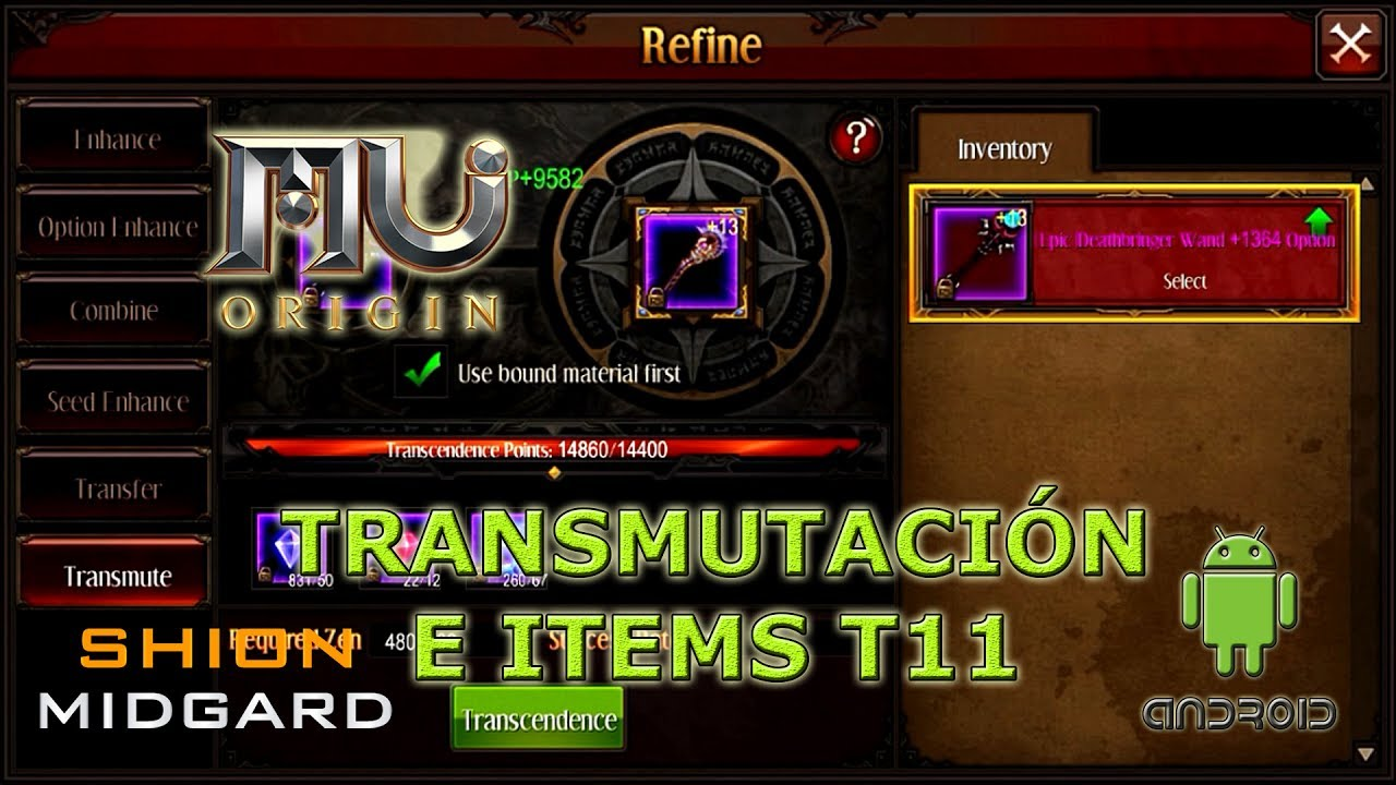 [Mu Origin] Transmutación e items T11