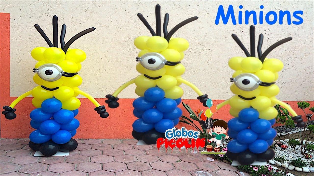 Columna de minions facil de hacer globos picolin 33 - Hacer munecos con globos ...