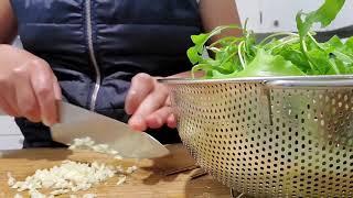아루굴라 (로켓, 루꼴라) 생채 만들기. 돌솥비빔밥에 …