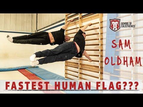 SAM OLDHAM LEARNS HUMAN FLAG IN 10 MINUTES | SCHOOL OF CALISTHENICS