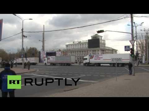 Ukraine: Russian humanitarian aid convoy arrives in Donetsk