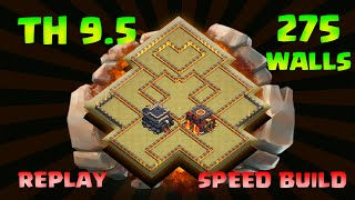 """Clash Of Clans TH9.5 (TOWN HALL 9.5) WAR TROPHY BASE 275 WALLS """"WAR REPLAY"""""""