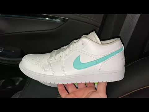 Air Jordan 1 Low White Multi Color Aqua Teal Shoes Youtube