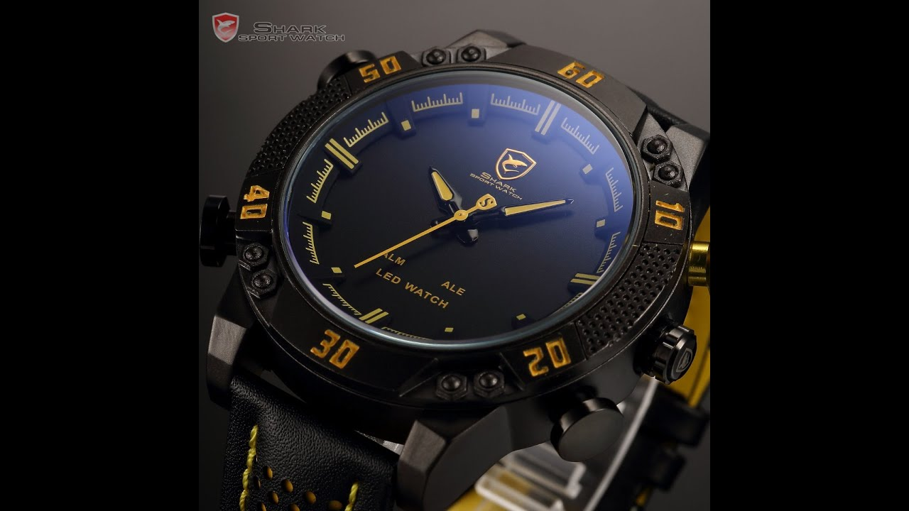 На���н�е �а�� shark new mens quartz sport army wrist watch