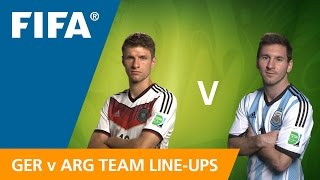 Germany v. Argentina - Team Line-ups EXCLUSIVE(Line-ups, substitutes and formations for Germany v. Argentina in the Final on 13 July at the 2014 FIFA World Cup™. FULL MATCH DETAILS: ..., 2014-07-13T18:19:18.000Z)