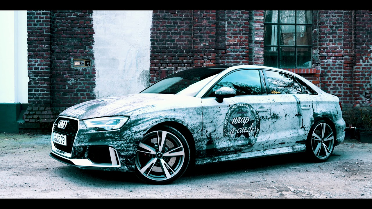 digitaldruck folie used look audi rs3 carporn wrap a car dirt design youtube. Black Bedroom Furniture Sets. Home Design Ideas