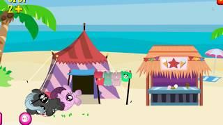 Греемся на солнышке вместе с карманной пони, посиделки на пляже. Мультик игра для детей