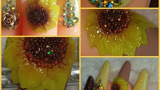 SUNFLOWER 3D GEL NAILS FOR MY MUM WISH😍😍😍