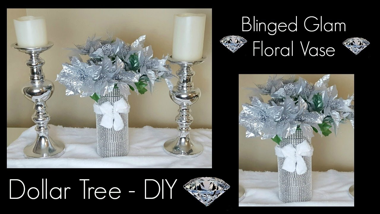 Diy Dollar Tree Christmas Bling Vase Glam Home Decor Centerpiece Craft