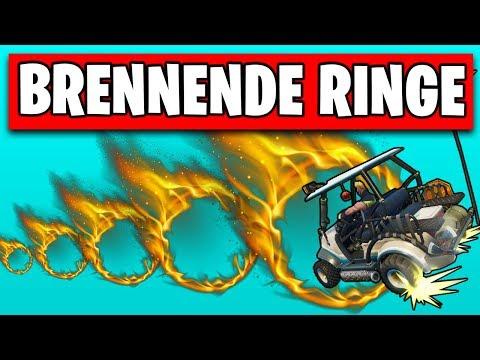 Fortnite fahre durch BRENNENDE Ringe 🔥 Season 5 Woche 4 Herausforderung Deutsch German