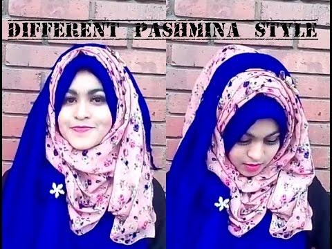 হিজাব স্টাইল - How To Wear Pashmina With Cotton Hijab In Different Way || Chest Coverage