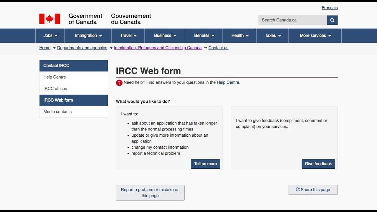 IRCC Webform/CIC Webform