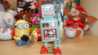 Overview of Robby the clockwork wind up Toy robot