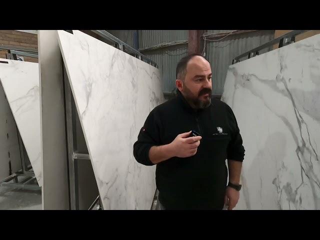 Kemal walks through some of our porcelain calacatta slabs. United Stone Melbourne Porcelain Range